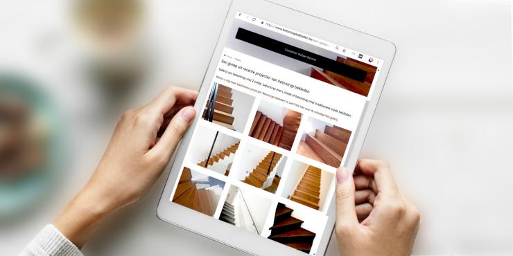 Makkelijke, duidelijke en snelle website voor vakmannen in bekleden van betonnen trappen